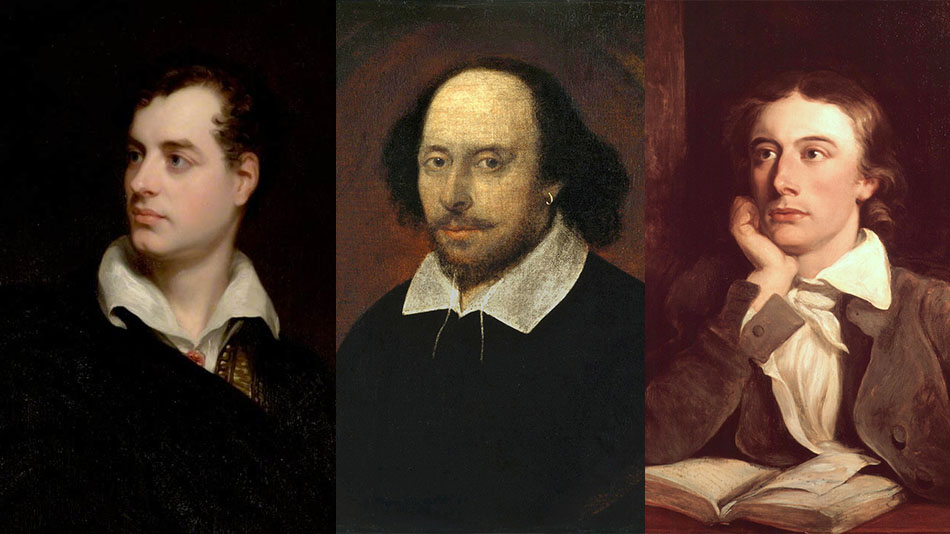 (L-R) Lord Byron, William Shakespeare and John Keats, whose death anniversaries were commemorated by the English department students of Loreto College. Image Source: Wikimedia Commons