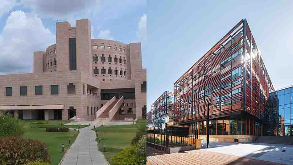 The Indian School of Business and (right) the University of Sydney Business School.   Image Source: Wikimedia Commons and The University of Sydney website