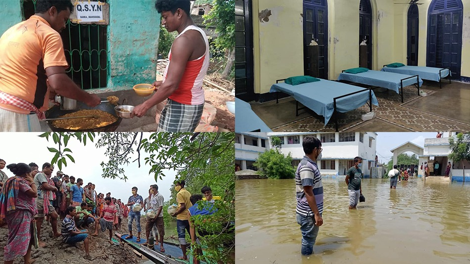 (Clockwise from top left) Volunteers have set up community kitchens and Covid care centres across West Bengal, apart from distributing food and healthcare essentials. Source: QSYN