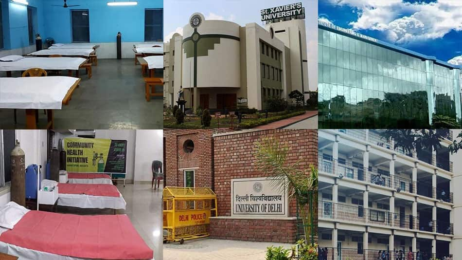 (Clockwise from top left) The Jadavpur Main Hostel safe home; St Xavier's University; the Institute of Engineering and Management; the Bhawanipur Education Society College; the University of Delhi; the Interim Covid care centre in Haridevpur Source: Facebook, Twitter