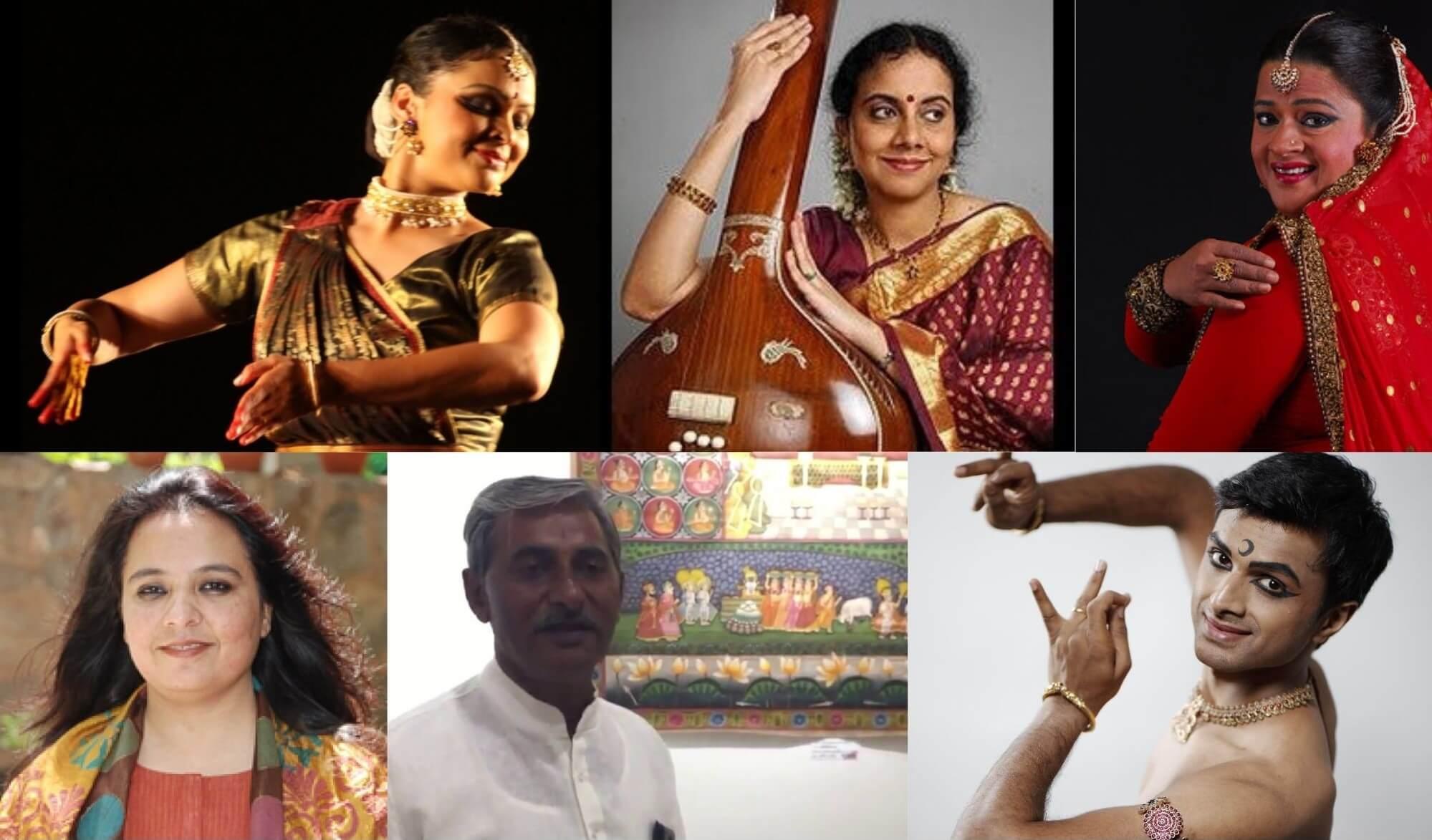 (L-R, clockwise) Gauri Diwakar, Gayathri Girish, Rani Khanam, Parshwanath Upadhye, Kaalyanml Sahu and Qamar Dagar who took part in the Spic Macay event. Source: YouTube and artistes' websites