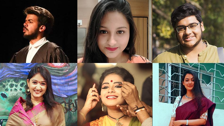 (L-R, clockwise) Anant Verma, Subhra Chandra, Subhayu Chatterjee, Aaishiki  Banerjee, Reetika Das, and Eliza Zaman