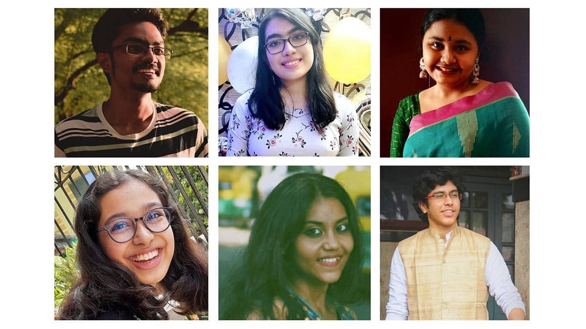 (L-R clockwise) Aneesh Nag, Srijani Datta, Srija Sengupta, Soham Bhattacharya, Brishti Mukherjee, and Sharanya Misra.