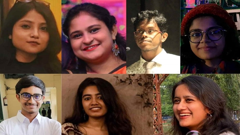 (L-R, clockwise) Rohini Mitra, Aporupa Sengupta, Arani Mitra, Rhythm Mandal, Meghna Chatterjee, Snigdha Bhattacharya, and Ritoban Sen. Source: Students