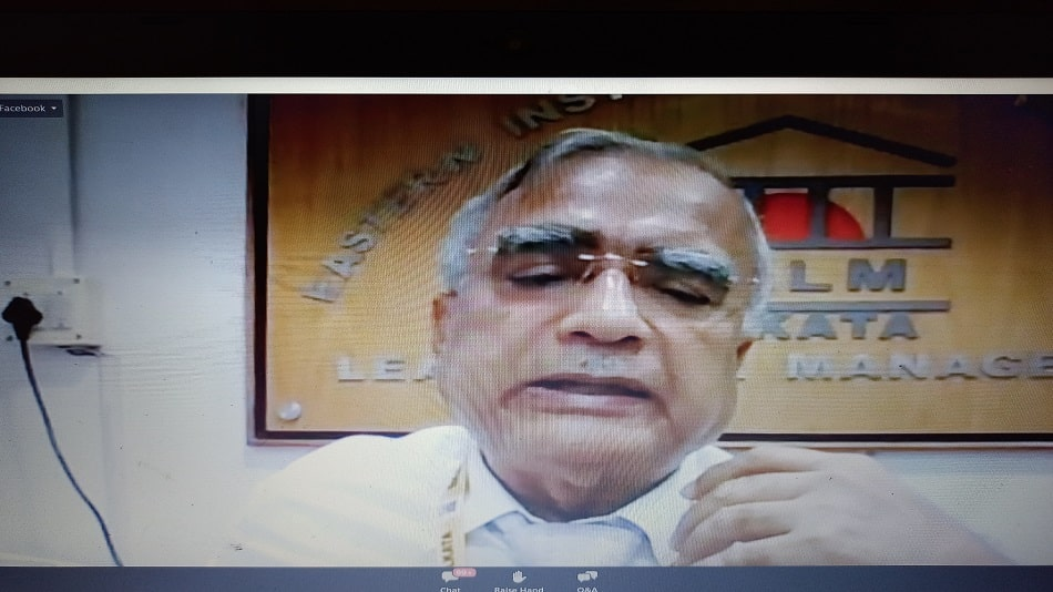 EIILM-Kolkata chairperson and director R.K. Banerjee speaks at the webinar.