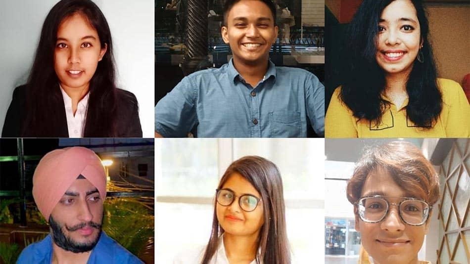 (L-R, clockwise) Shreya Das, Sreeparno Ghosh, Stuti Aastha, Abrar Saqib, Soumili Das, and Ashjot Singh Anand.