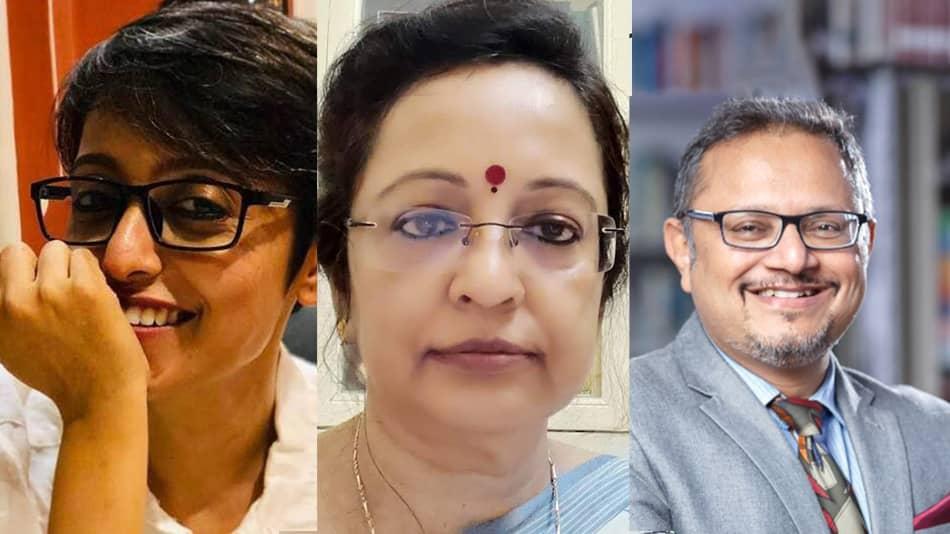 From left) Anuttama Banerjee, Rima Mukherjee and (moderator) Debanjan Chakrabarti.