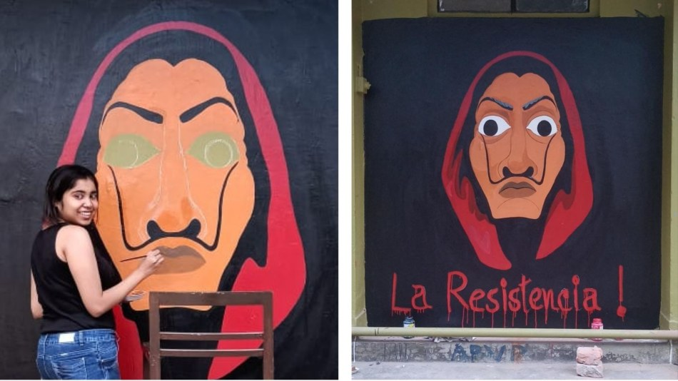 Aratrika Basu painting the Dali mask at Jadavpur University in January 2021. Source: Aratrika Basu