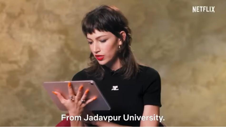Netflix video shows Tokyo in Money Heist, admiring fan-art created by Aratrika Basu at Jadavpur University. Source: Netflix
