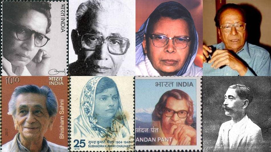 (L-R, clockwise): Harivansh Rai Bachchan, Dharamvir Bharati, Mahadevi Verma, Kamaleshwar, Premchand, Sumitranandan Pant, Subhadra Kumari Chauhan and Bhisham Sahni. Sources: Wikipedia, Wikimedia Commons, India Postal Stamps