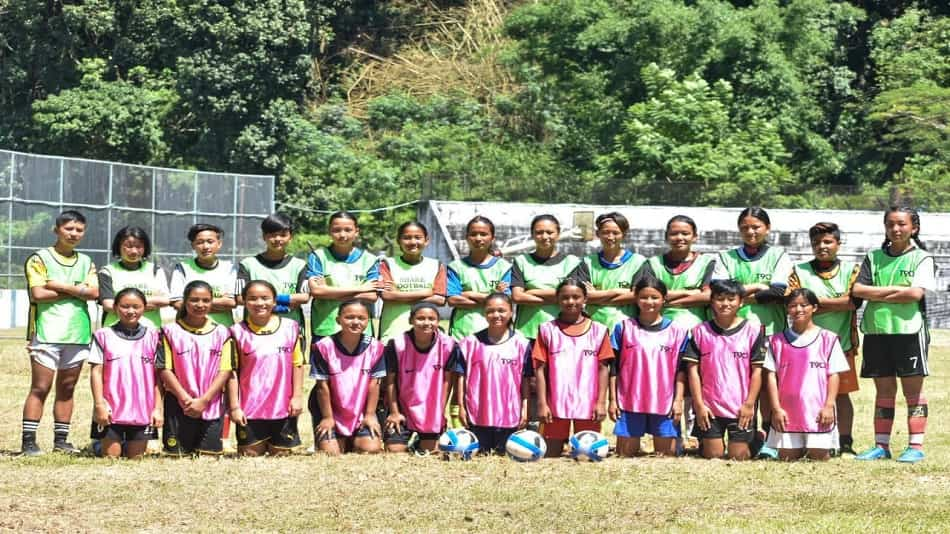 The first batch of players to make it to the Debanjan Share Girls Football Academy.