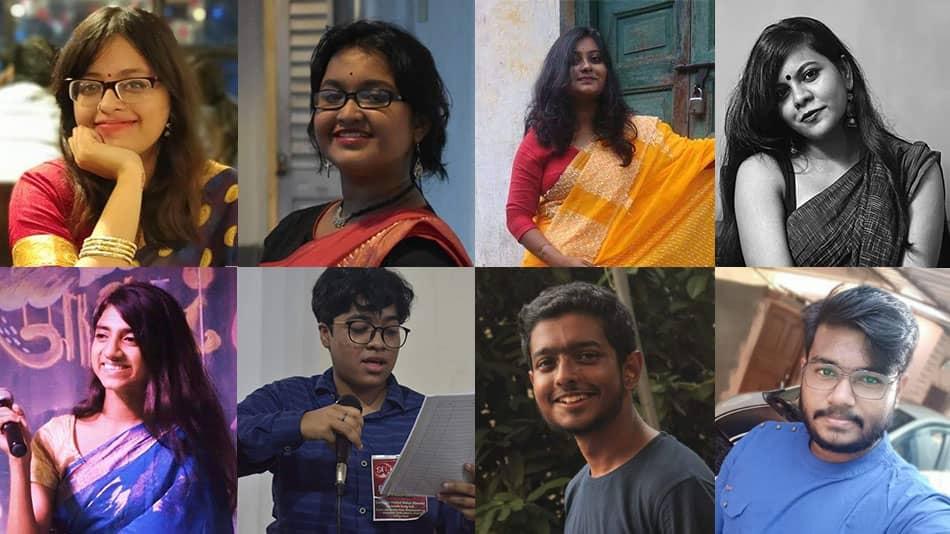 (L-R, clockwise) Vasundhara, Saheli, Sriroopa, Anisha, Biplab, Sujato, Adrija, and Suchetana Source: Students
