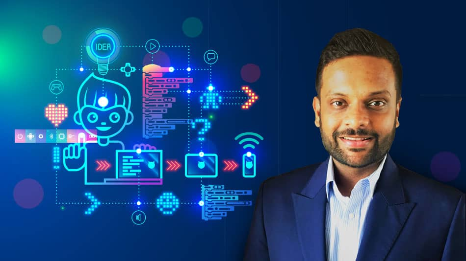 With education shifting online during the pandemic, EdTech plays a pivotal role in introducing the youth to skilled industry mentors and (right) Girish Singhania.    Image source: EduBridge and Shutterstock