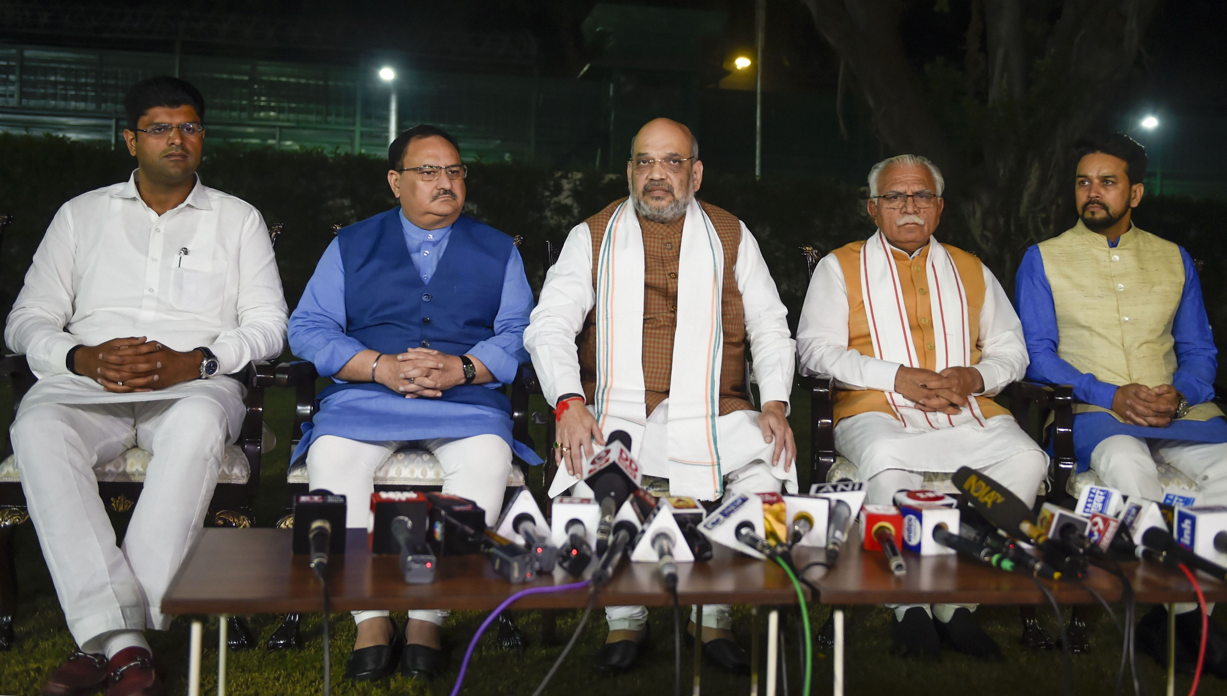(From left) Dushyant Chautala, JP Nadda, Amit Shah, Manohar Lal Khattar and Anurag Thakur at the news conference in New Delhi on October 25
