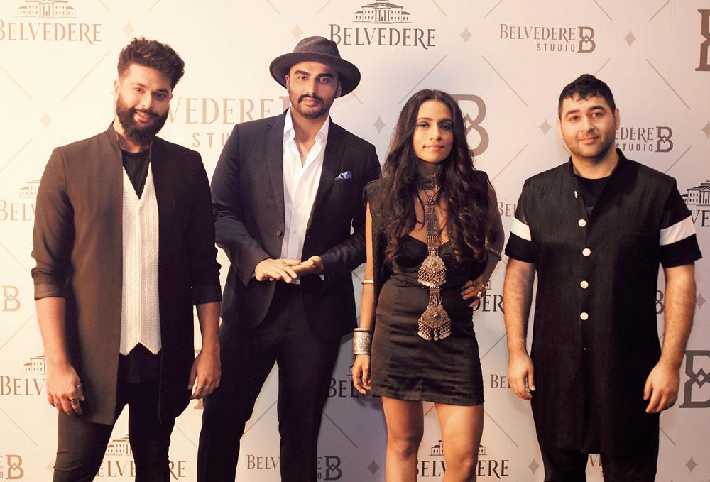 (L-R) Kunal Rawal, Arjun Kapoor, Shilo Shiv Suleman and Prateek Sadhu in Mumbai for the launch of Belvedere's Studio B