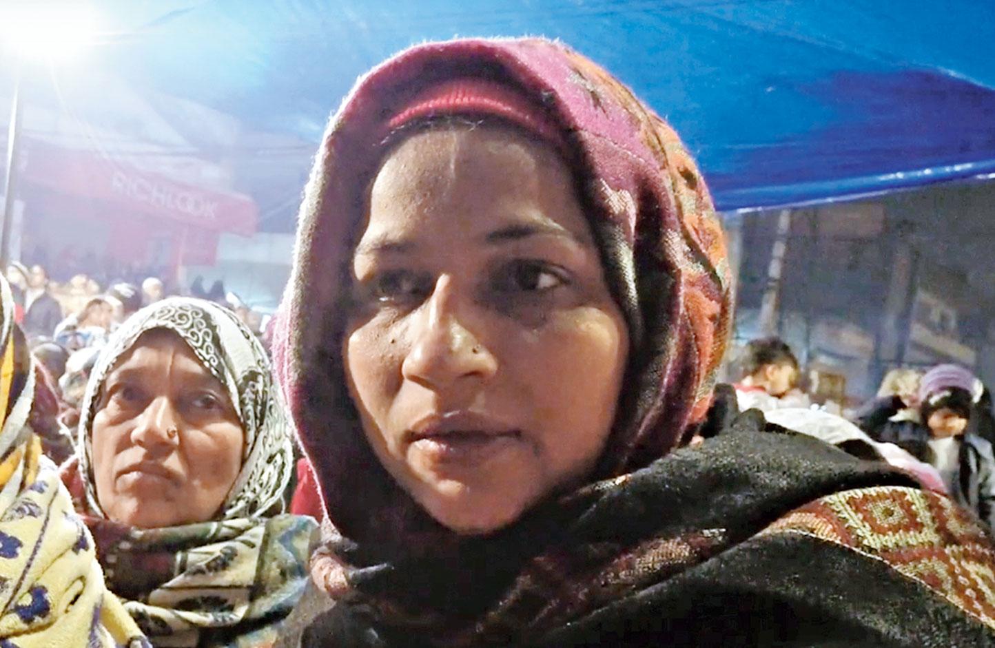 The woman who spoke braves the biting cold at Shaheen Bagh.