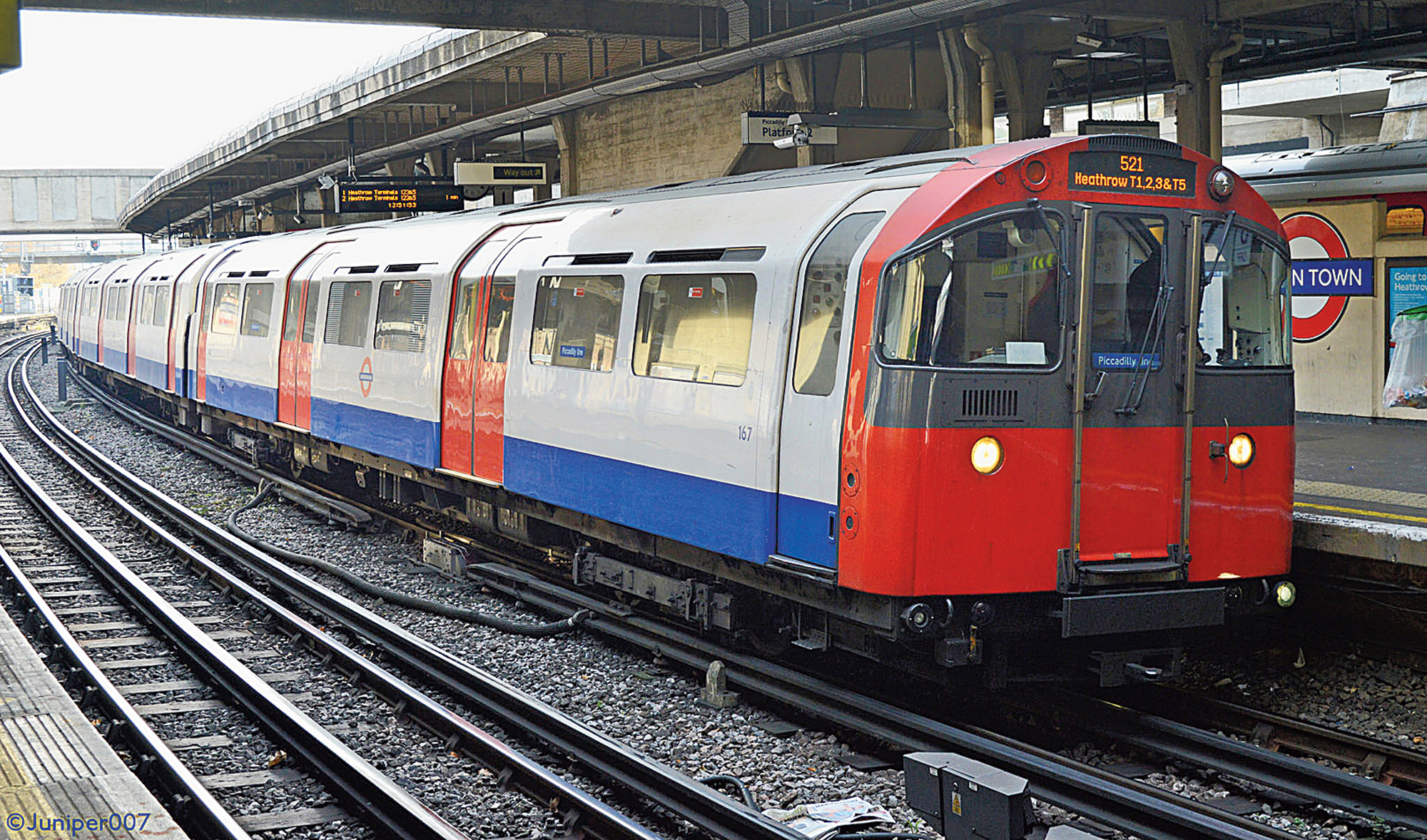 A train runs on the Piccadilly line of the London Underground, the world's oldest Metro system.