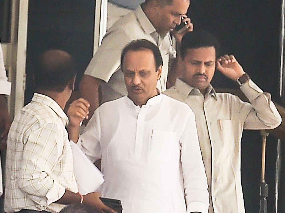 Maharashtra Deputy Chief Minister Ajit Pawar leaves from Vidhan Bhawan in Mumbai, Monday, November 25, 2019.