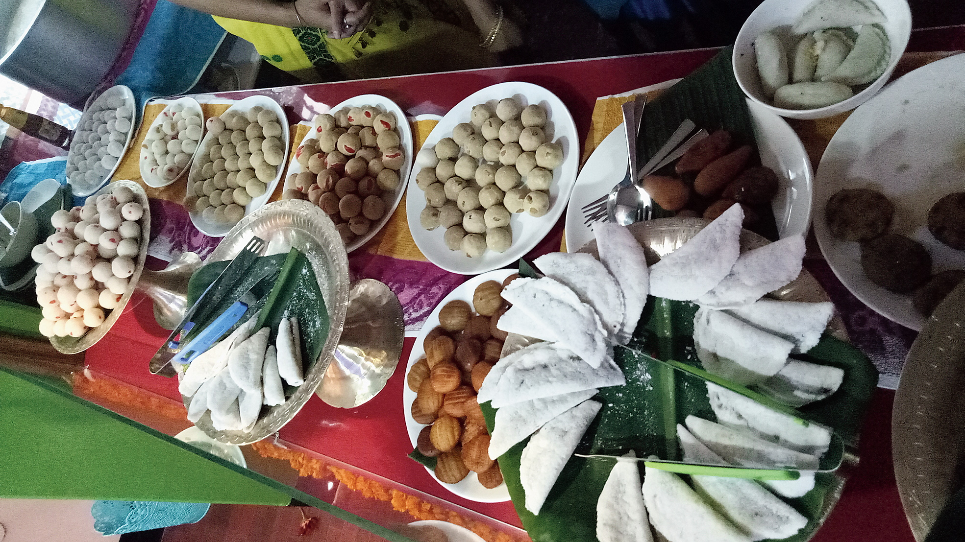 The food items being displayed at Bhogali Jalpan.