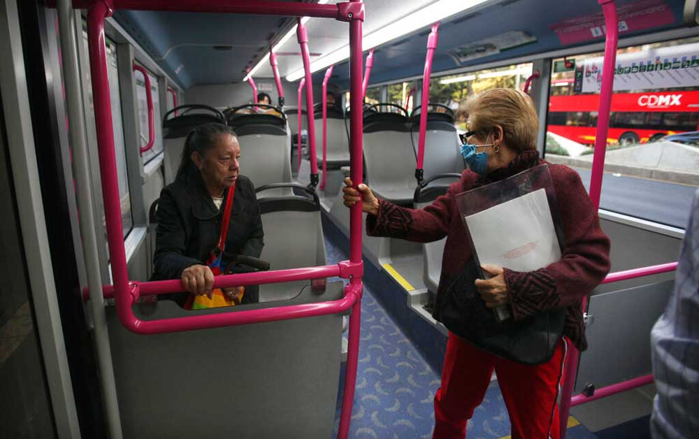 Passengers in a near-empty women's section of the Metro bus during the national women's strike, 'Day Without Women', in Mexico City on March 9
