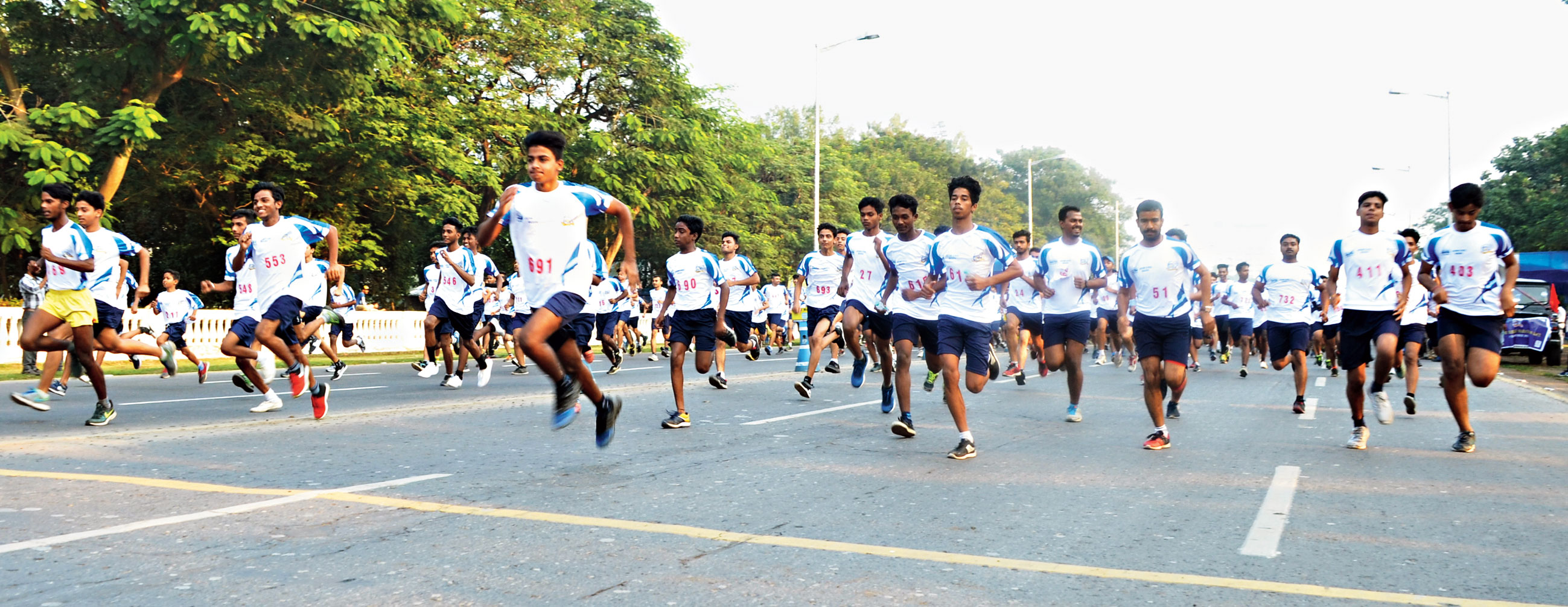 Participants at the Diamond Jubilee Marathon Race, presented by the Council for the Indian School Certificate Examinations in association with The Telegraph Young Metro, on Red Road on Sunday.