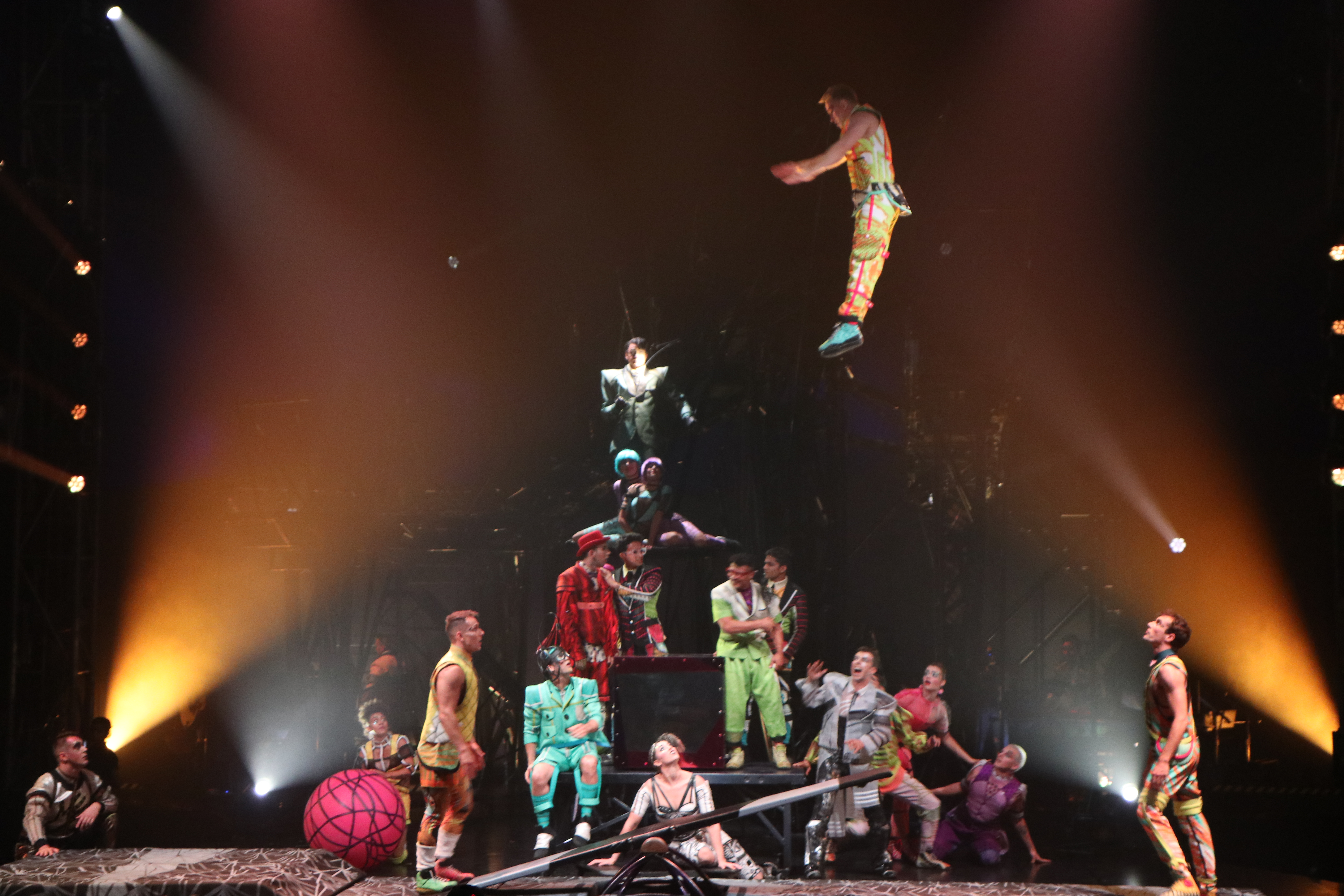 Cirque du Soleil: A teeterboarder has 1.8 seconds to take a call