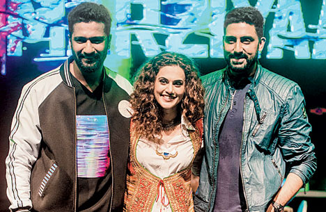 Manmarziyaan stars (from left) Vicky Kaushal, Taapsee Pannu and Abhishek Bachchan