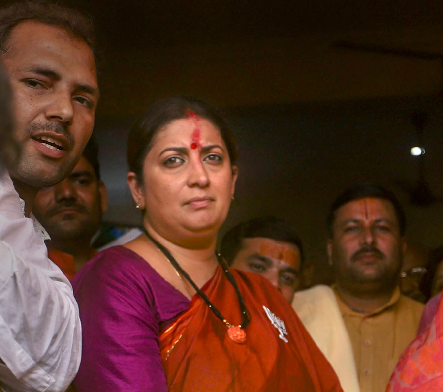 Union minister and BJP candidate Smriti Irani at a temple before filing her nomination papers, in Amethi on April 11, 2019