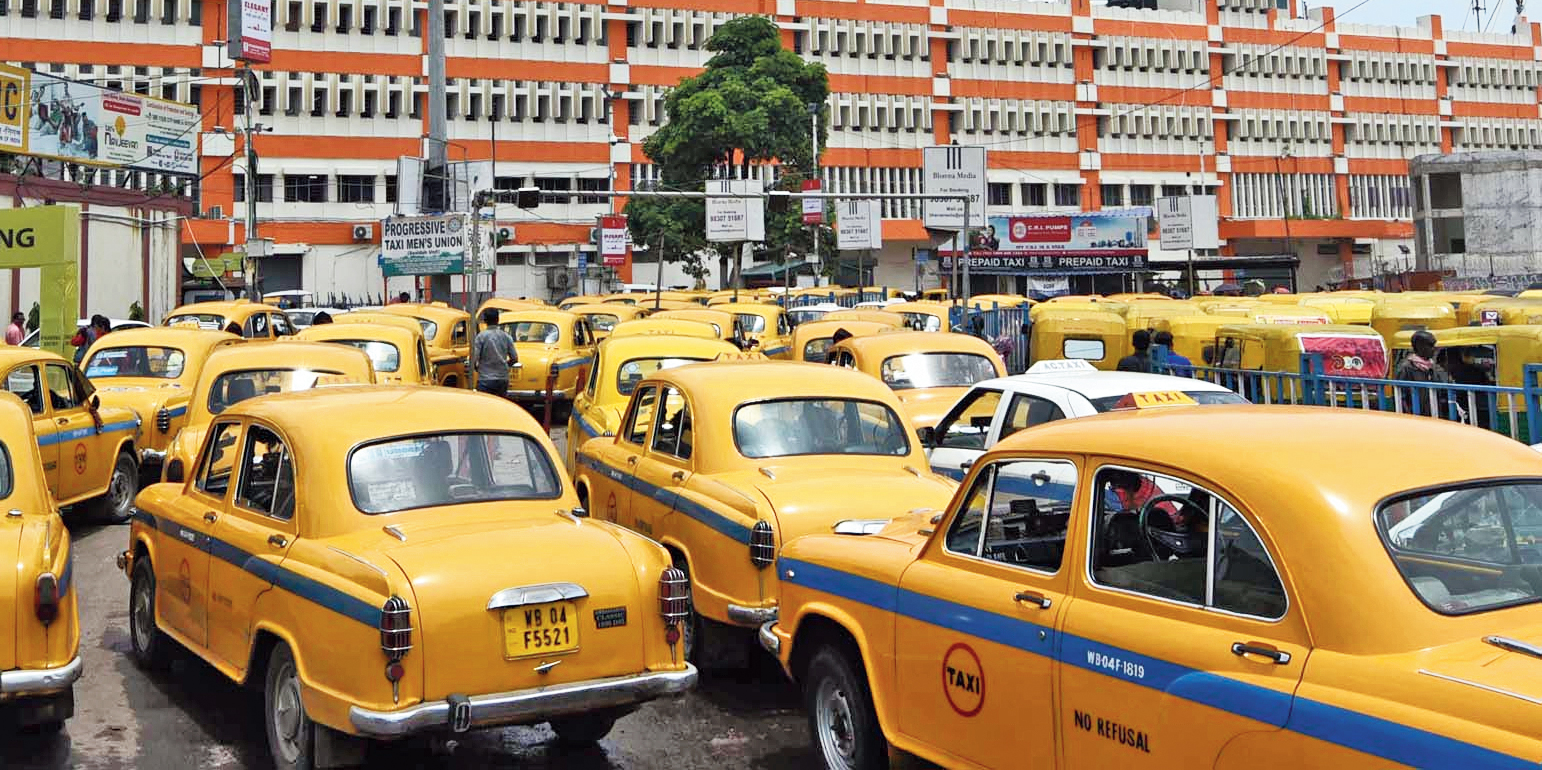 Yellow cabs at Howrah station on Tuesday.