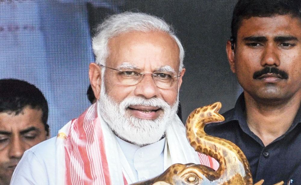 Prime Minister Narendra Modi at the rally in Kamrup on Thursday