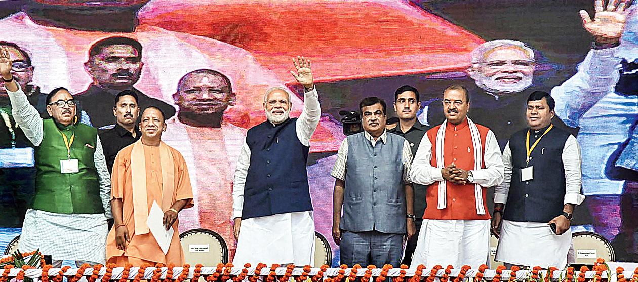 Narendra Modi in Varanasi on Monday.