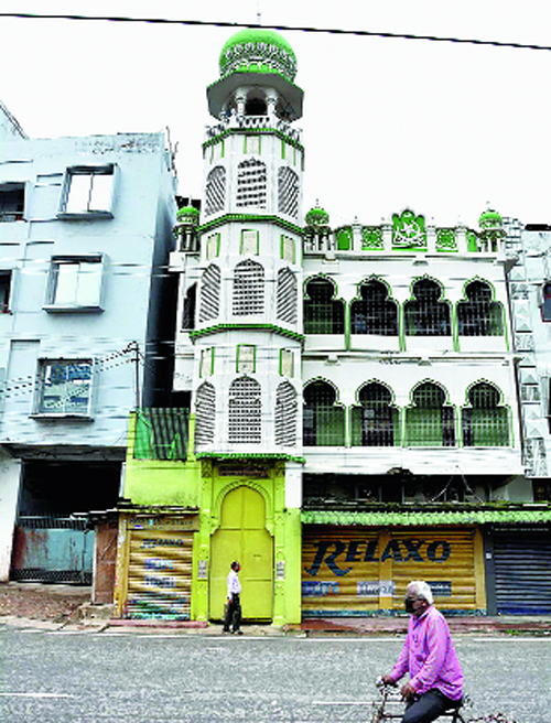 The closed mosque at Paltan Bazar in Guwahati on Saturday.