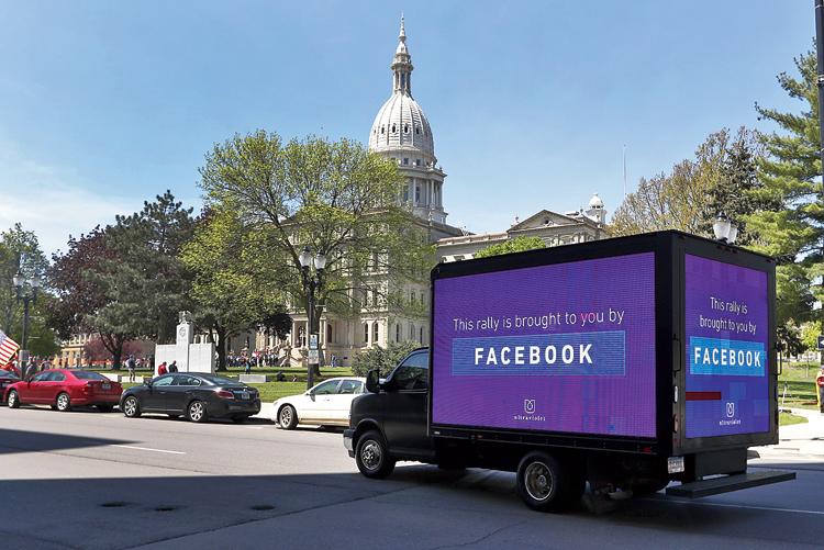 A Facebook video sign in Lansing, Michigan.