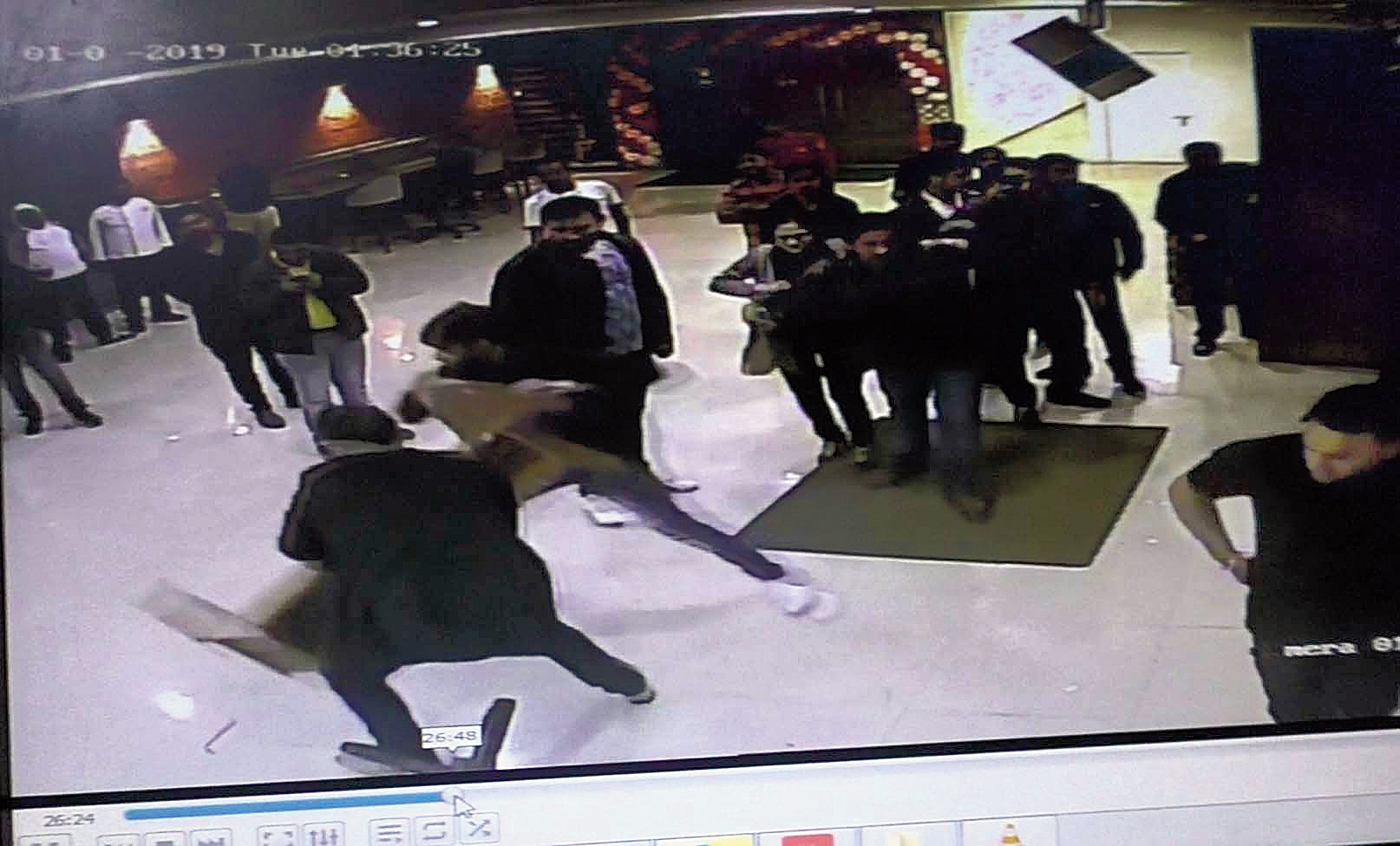 A screenshot of CCTV footage from the pub at the time of the attack.