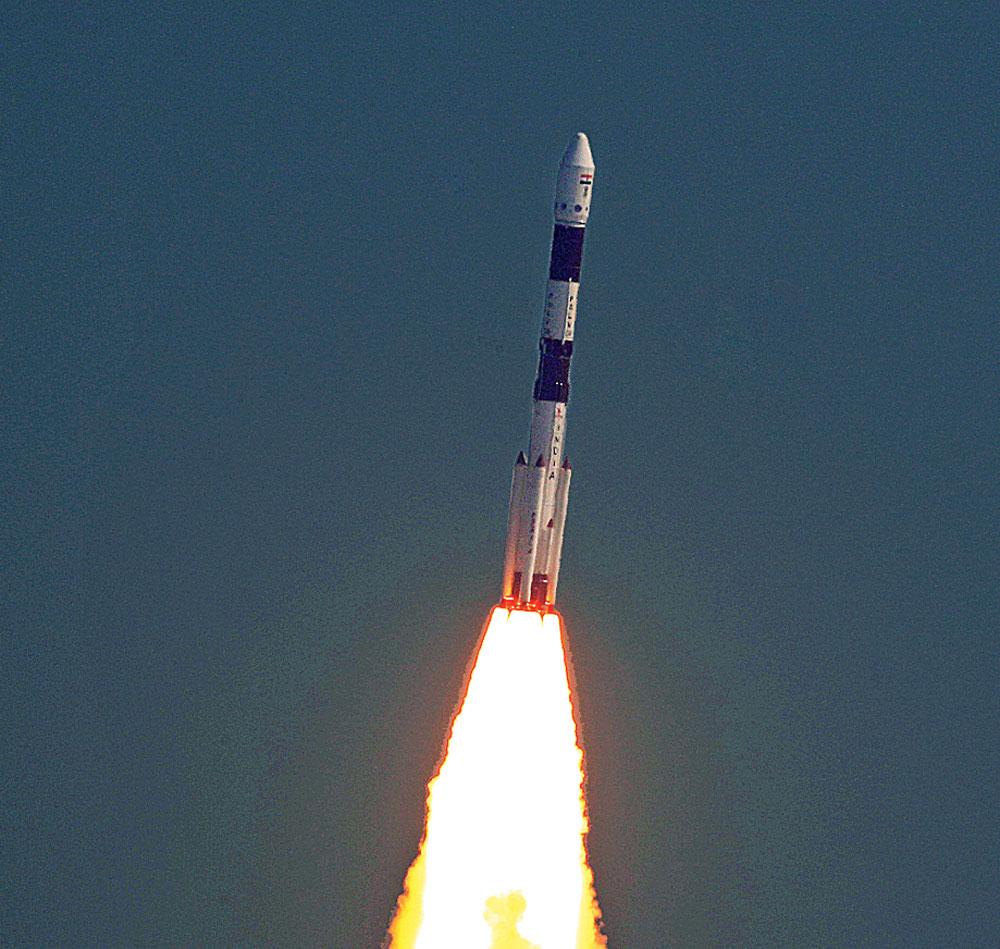 A Polar Satellite Launch Vehicle lifts off from Sriharikota on Monday.
