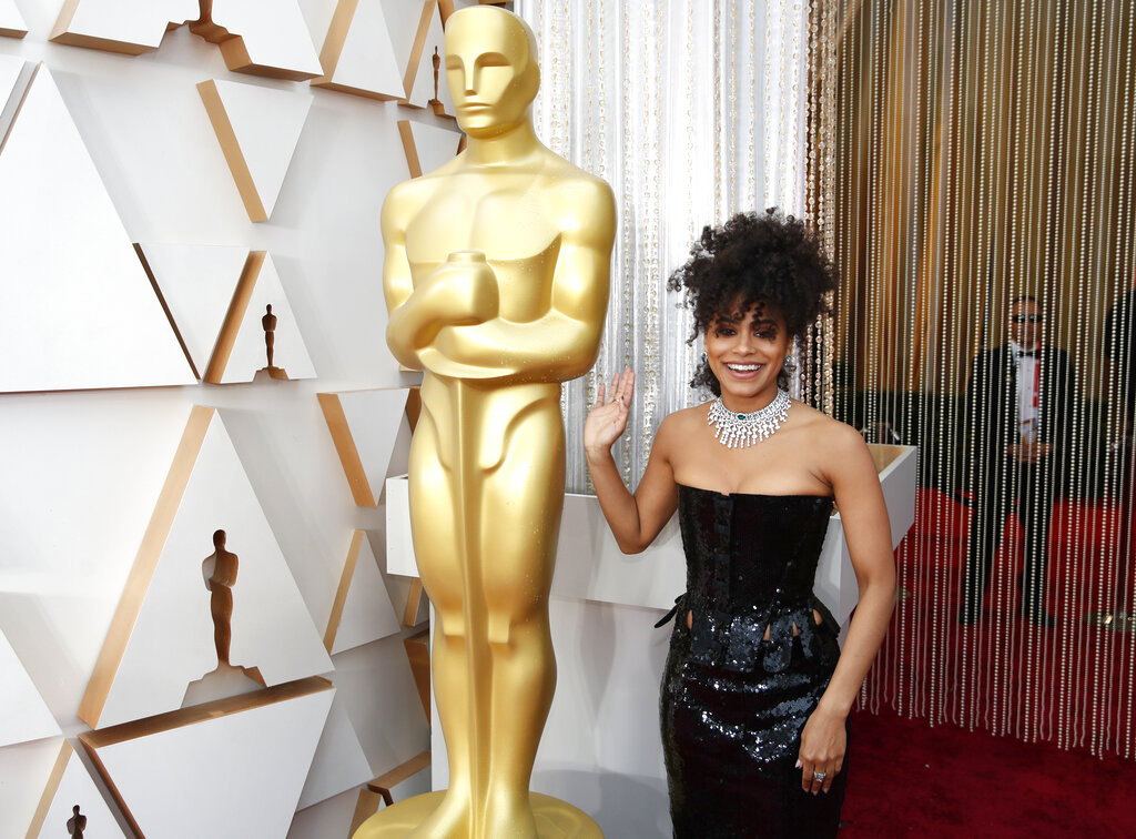 Zazie Beetz arrives at the Oscars on Sunday, February 9, 2020, at the Dolby Theatre in Los Angeles