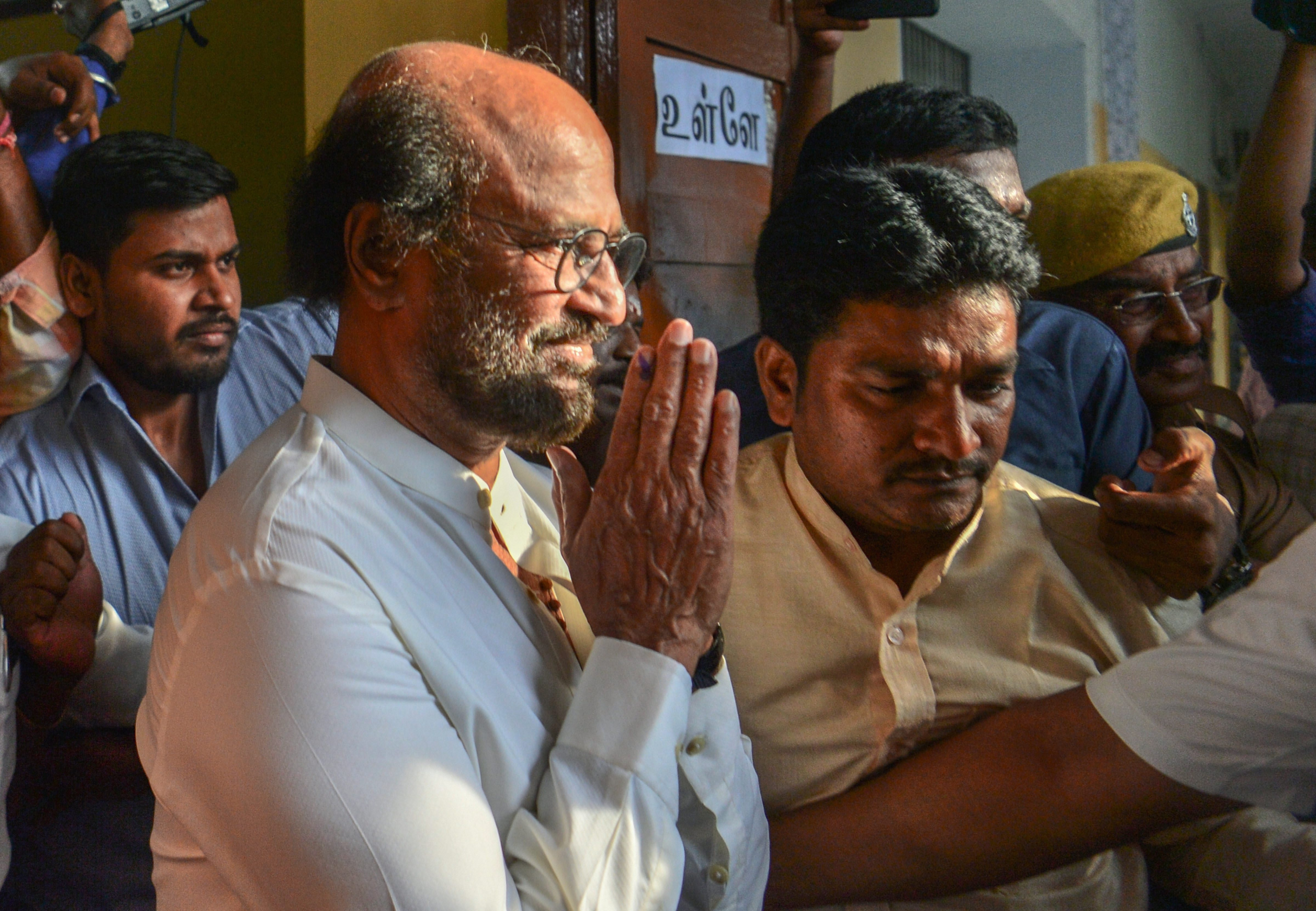 Actor-turned-politician Rajinikanth after casting vote for the second phase of the general elections, at a polling station in Chennai on Thursday, April 18, 2019.