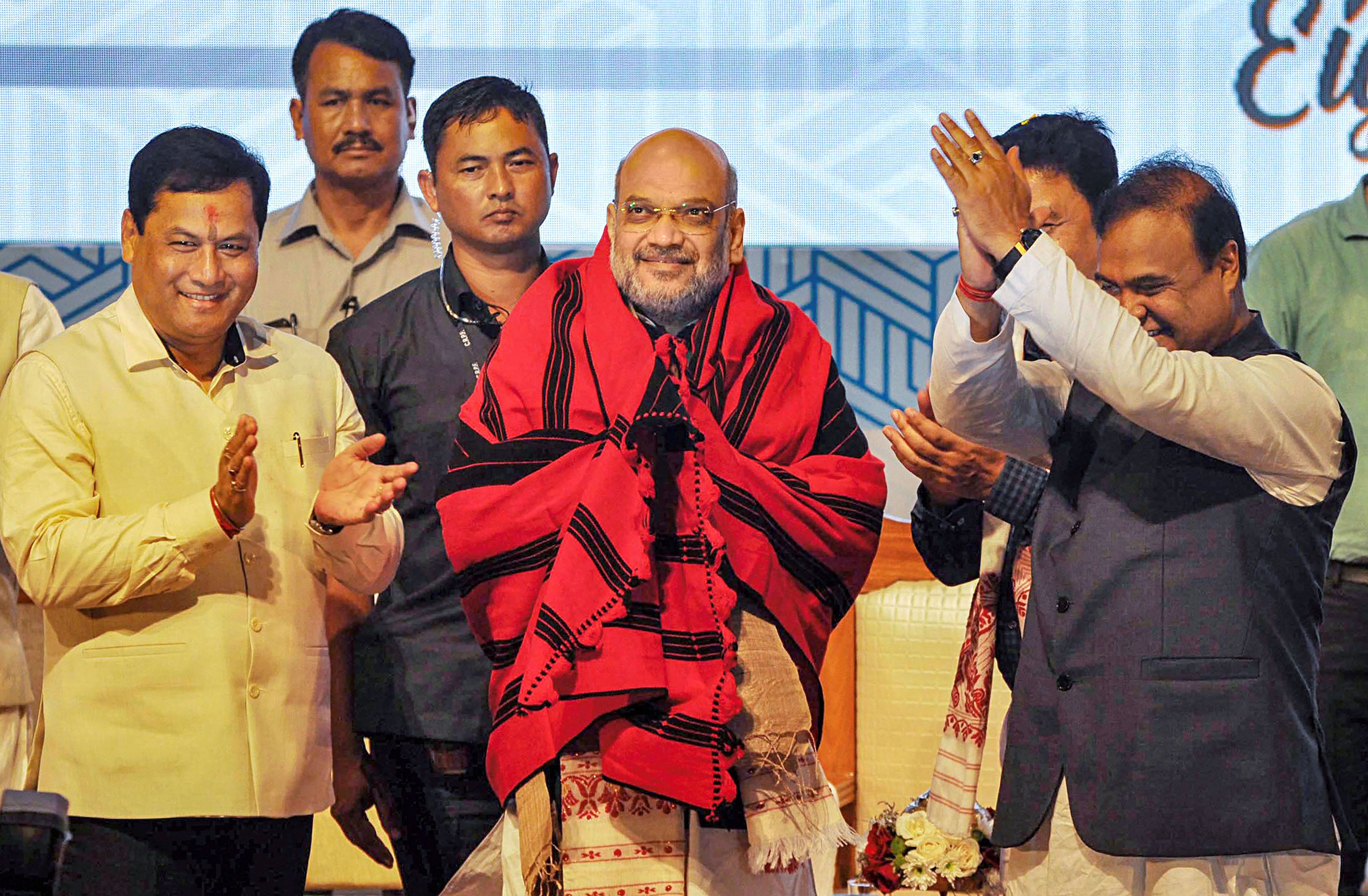 Union home minister Amit Shah being felicitated during the fourth conclave of the North East Democratic Alliance, in Guwahati on Monday, September 9, 2019