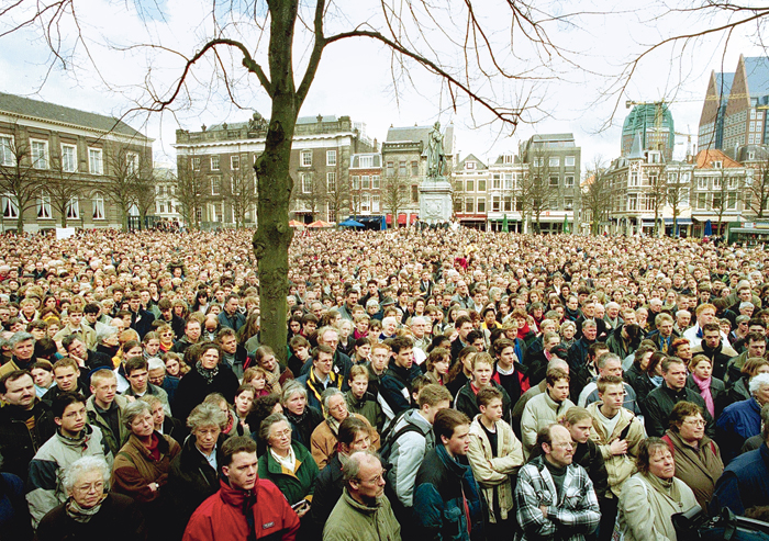 A file picture shows protesters at The Hague on April 10, 2001, as the Upper House of the Dutch parliament voted to legalise euthanasia.