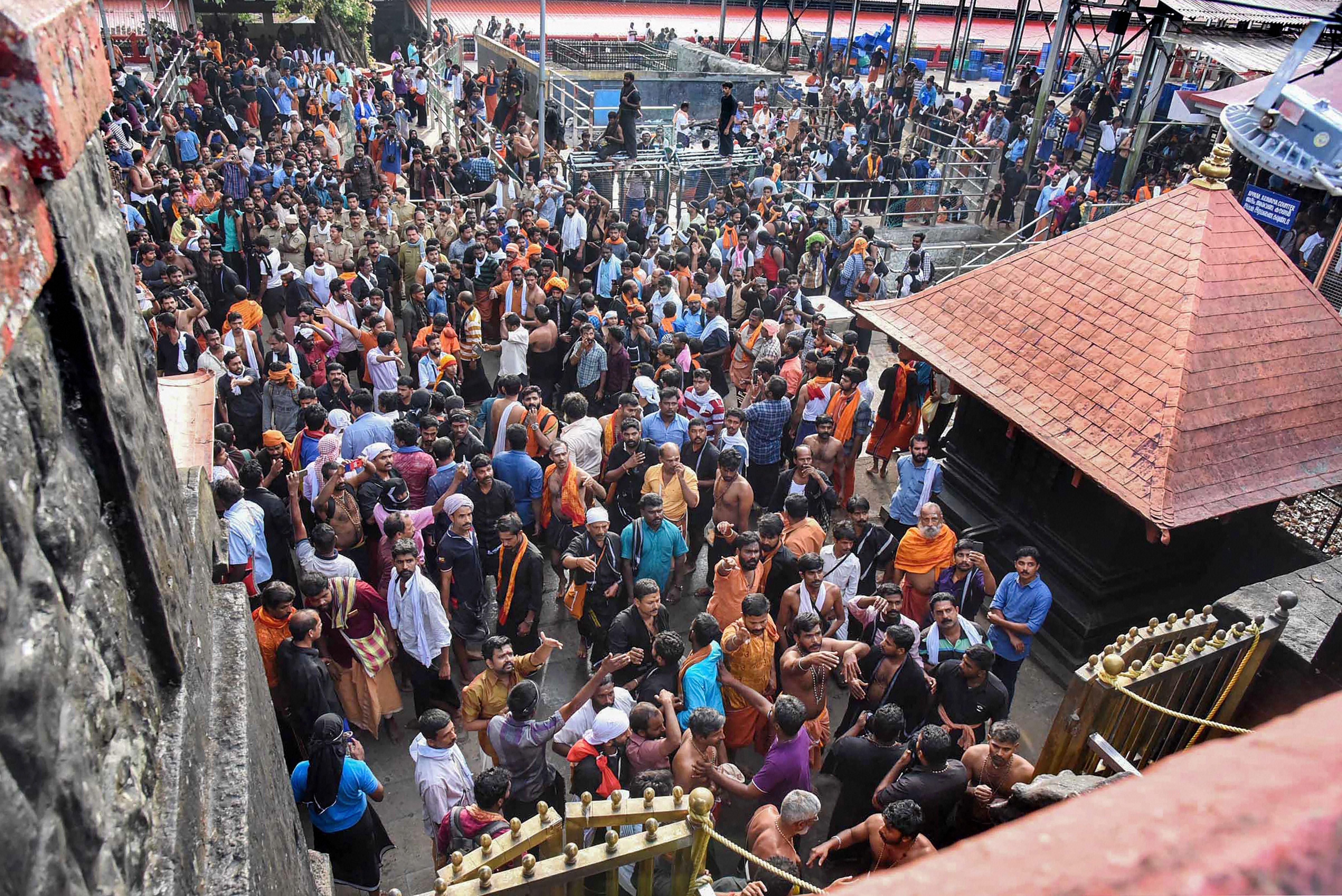 Protests at the Sabarimala shrine.