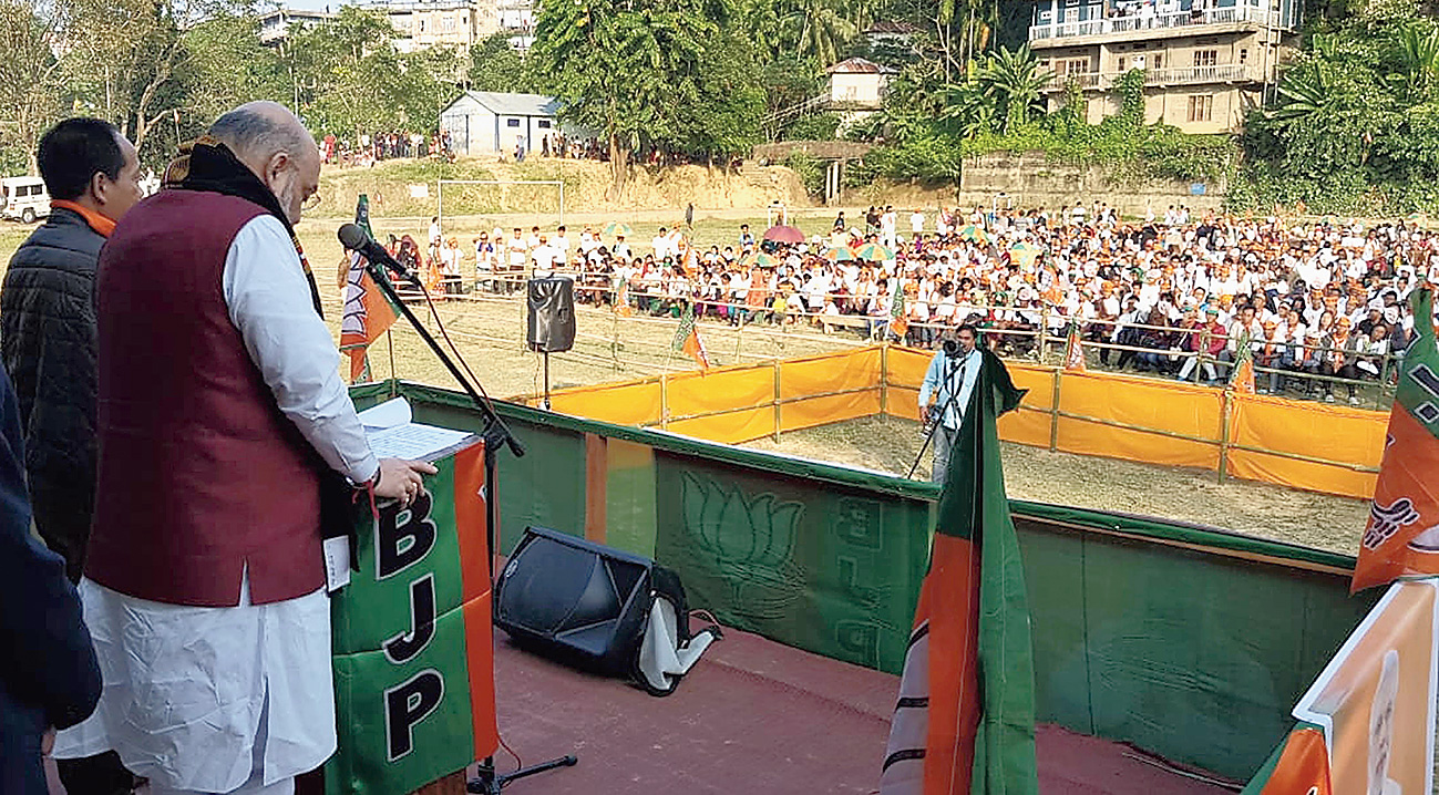 BJP national president Amit Shah campaigns in Mizoram on Tuesday.