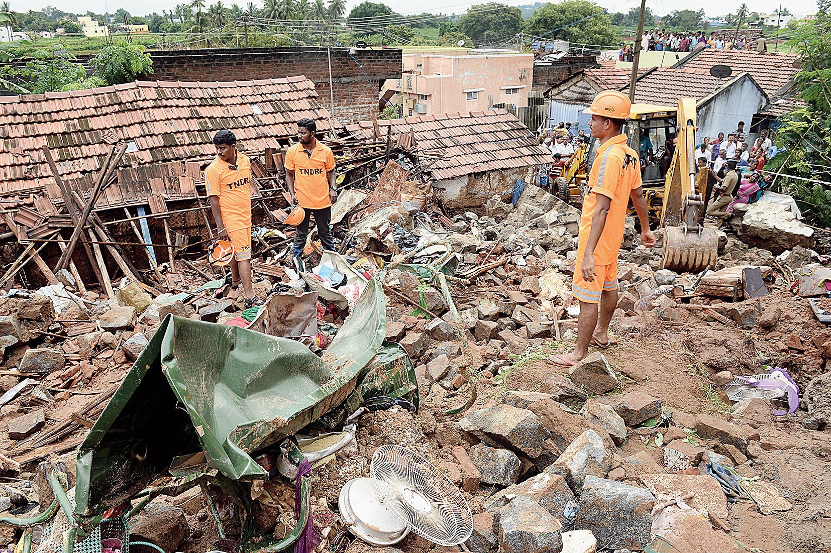 The site of the wall collapse in Nadur village near Coimbatore on Monday.