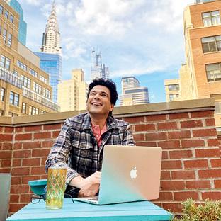 Vikas Khanna at his home-office in Manhattan