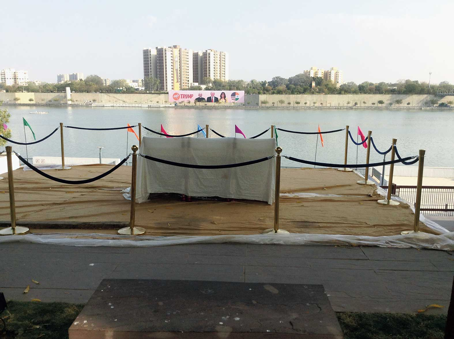 The Sabarmati Ashram riverfront where seating arrangements have been made for Trump.