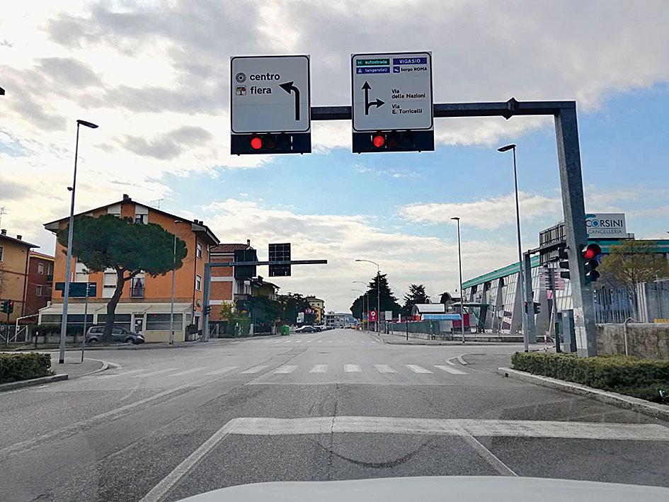 A deserted road in Verona.