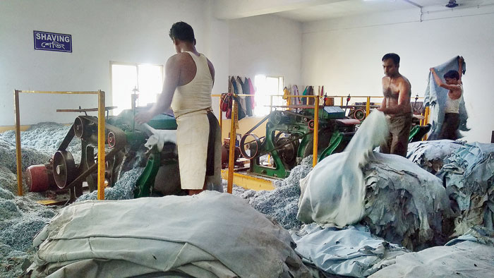 Leather being processed
