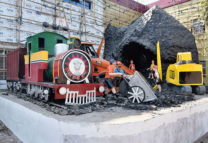 Fibre models of mining activities installed at Dhanbad station on Friday.