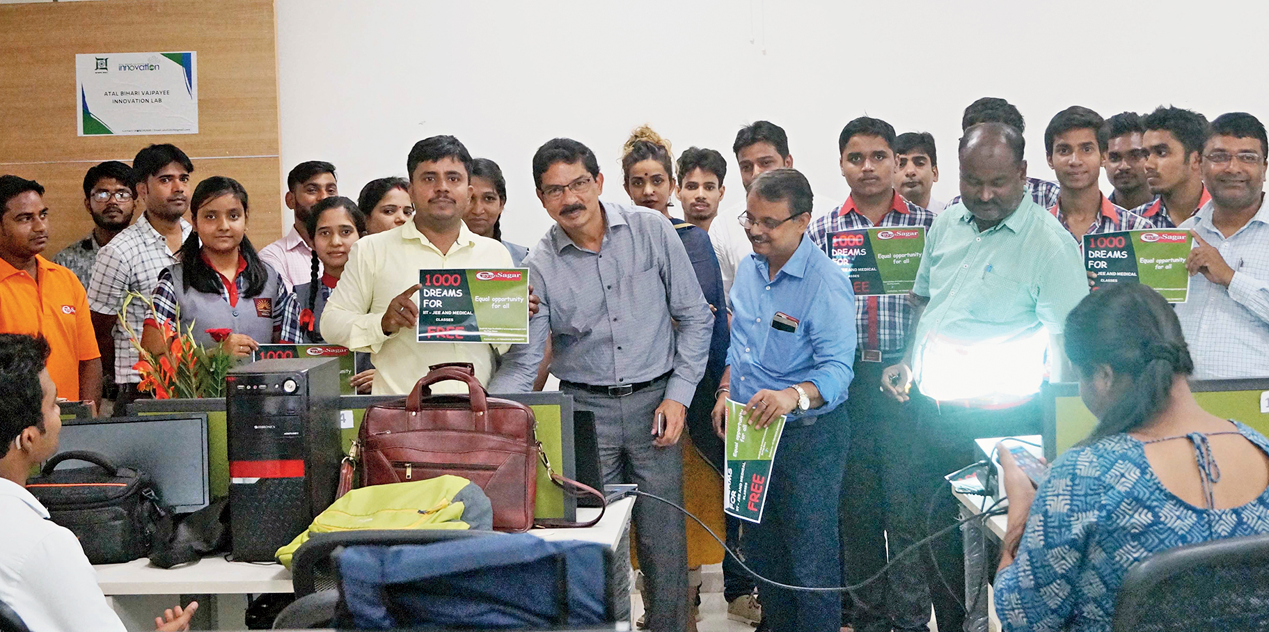Principal secretary Rajeev Arun Ekka (centre) during the inauguration of the online IIT-JEE and medical classes at the Atal Behari Vajpayee Innovation Lab in Ranchi on Monday.