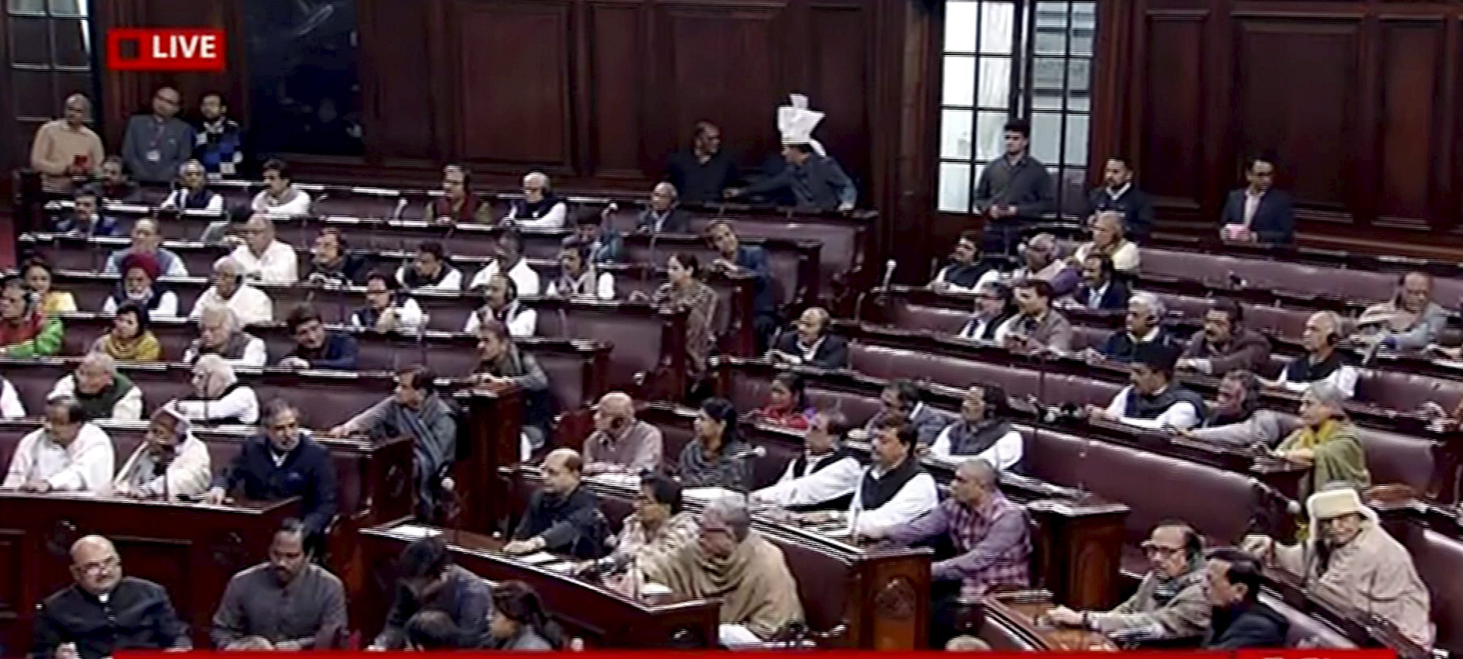 The Rajya Sabha during the voting on the bill to provide 10 per cent reservation in jobs and educational institutions to economically backward sections in the general category in New Delhi, Wednesday, January 9, 2019