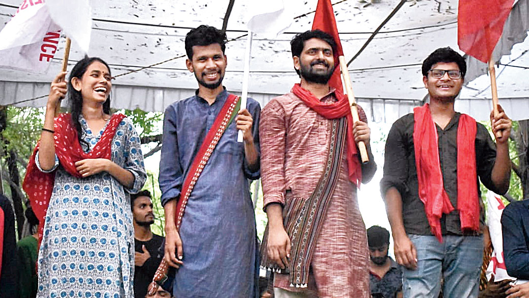 (from Left to right) SFI's presidential candidate Aishe Ghosh, DSF VP candidate Saket Moon, Aisa general secretary nominee Satish Chandra Yadav, AISF's joint secretary candidate M. Danish.
